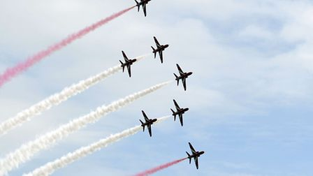 Day two of the Clacton Air Show 2012. The Red Arrows in flight.