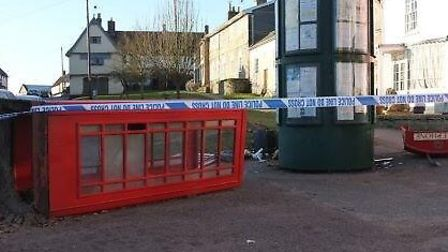 Telephone box which was attacked in Debenham on Tuesday morning