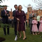 Lady Margaret Thatcher planting a tree in the grounds of St Osyth Priory.