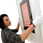 The new exhibition at Smiths Row Gallery in Bury is being installed. Natalie Pace.