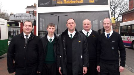 Ipswich Buses staff, from left, opersations manager Dean Robbie, drivers Daryls Pool, Kevin Curtis a