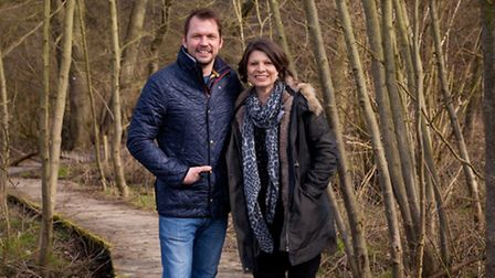 Jimmy Doherty and Red Rose Chain's artistic director Joanna Carrick in the woods at Jimmy's Farm whe