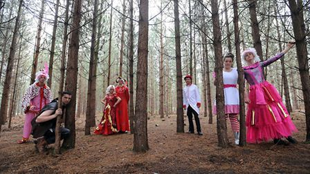 The Red Rose Chain rehearse in rendlesham Forest for their production of King Lear.
