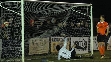 John Sands celebrates after ramming home the equaliser for Bury Town against Leiston in the John Ban