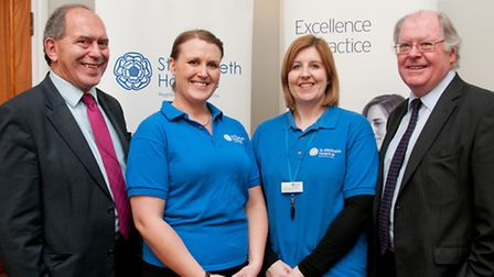 Nigel Farthing, left, senior partner at Birketts, and Alistair Lang, chief executive, with Sarah Ar