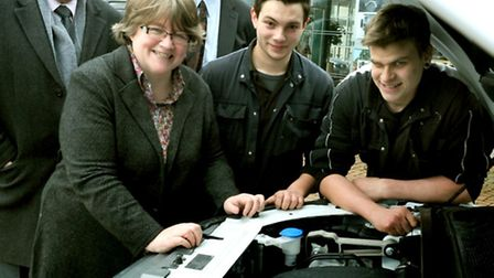 Therese Coffey MP visiting Hammonds Landrover in Halesworth as part of National Apprenticeship Week