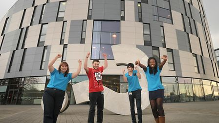 University Campus Suffolk has become an Independent University.; Student ambassadors celebrate the