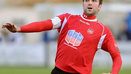 Needham Market stalwart Rhys Barber, who faces an uncertain future