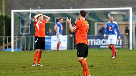 Bury Town players rue a missed chance in the goalless draw at Leiston in early January