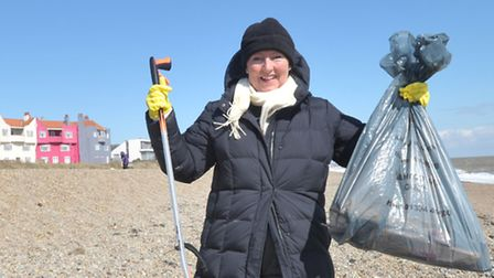 The sun was shining once again for the Annual Thorpeness beach clean organised by Bill Crow. Amanda