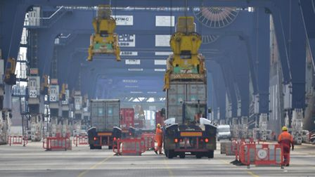 Quayside operations at the Port of Felixstowe.