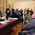 Ray Herring of Sufffolk Costal Districh Council talks at the public meeting about Felixstowe Beach H