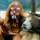 SUFFOLK'S TIME LORD: Will Lord in authentic handmade reindeer coat, ochre face paint... and bear!