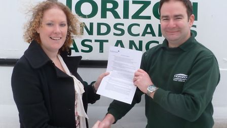 Kate Nudds, general manager of Helmsman Services, with Marc Everett of Horizon Landscapes