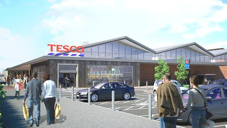 An artist's impression of the new Tesco superstore at Walton Green - villagers in Trimley St Mary ar