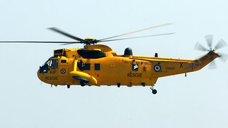The RAF Search and Rescue Sea King Helicopter of B Flight 22 Sqn from Wattisham Airfield