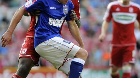 Ipswich Town's Paul Taylor in action against Middlesbrough