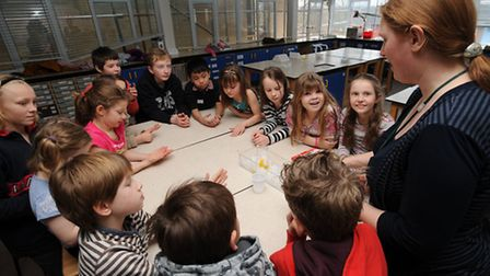 Children taking part in the science day at St Benedict's School in Bury.