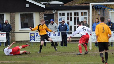Walsham-le-Willows on the attack against Mildenhall Town in Saturday's 1-1 draw at Summer Road