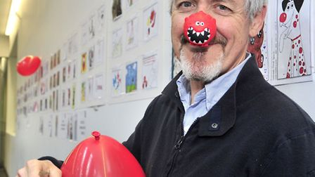 Griff Rhys Johns comes to Suffolk New College to judge a Comic Relief postcard competition