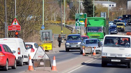 Rougham Road in Bury St Edmunds has become very congested with traffic due to major gas works.