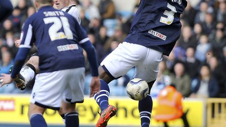 Luke Hyam with a first half chance at Millwall