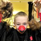 Springfield Junior school pupil Christopher Allen getting his head shaved in aid of Comic Relief. wi