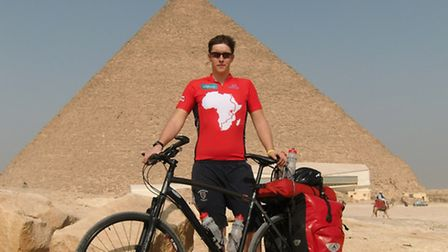 Adam Wolley in Egypt during his bike ride to Cape Town in 2010
