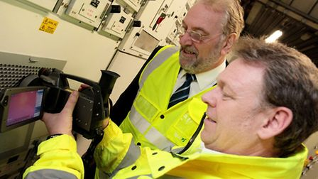Stansted Airport's engineering compliance manager, David Potter, left,, carrying out maintenance che