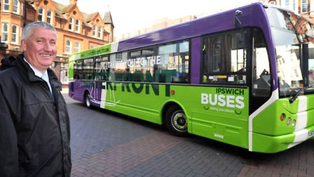 Malcolm Robson of Ipswich Buses with the rebranded Waterfront Bus
