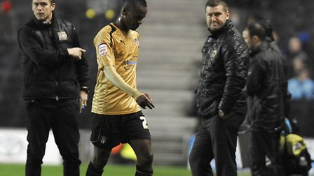Gavin Massey goes off after being shown the red card at MK Dons last November