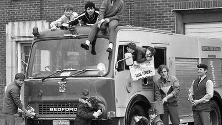 Needham Market Cubs washing a fire engine in April 1985