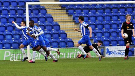George Porter celebrates his equaliser in Saturday's 2-1 home defeat by Crewe