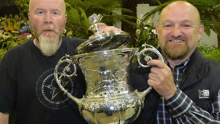 Kerry Robinson and Steven Fletcher of Fernatix from Stoke Ash with the Best in Show trophy at the Ha