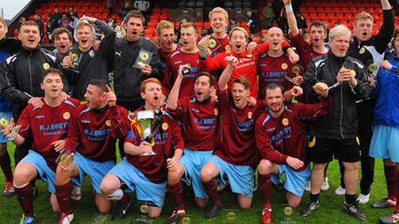Stanway Rovers celebrate after winning the Ridgeons League Cup Final against Norwich United at Diss