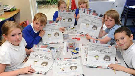 Pupils at Great Whelnetham Primary School take part in the EADT maths challenge 2012. L-R: Katie Rea