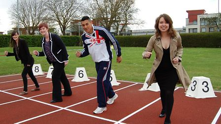 From left, Sarah Watson and Jennie Skingsley from Birkett Long's marketing team, Colchester athlete