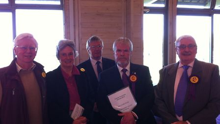 UKIP councillor Stephen Searle with supporters after winning the Stowmarket South seat