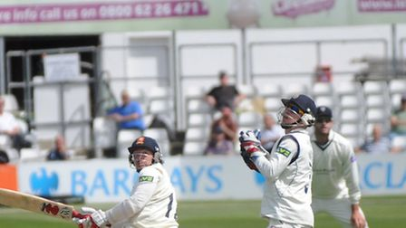 Essex County Cricketer Graham Napier bats against Hampshire at a match on Tuesday, 30 April.