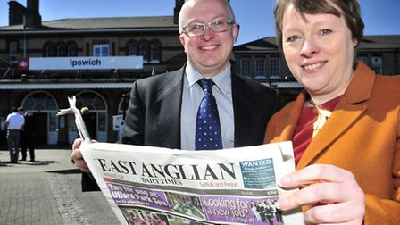 Maria Eagle, Shadow Transport Secretary at Ipswich Station with David Ellesmere
