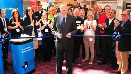 Suffolk Chamber of Commerce president Peter Funnell opens the 2013Suffolk Business Exhibition held a