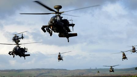 British and French attack and support helicopters on a combined mission during Exercise Joint Warri