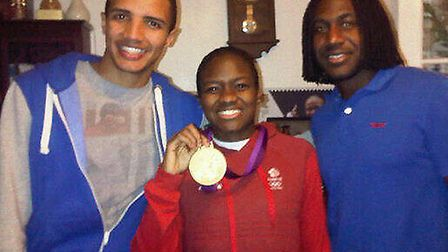 Leon Ottley-Gooch, left, pictured with Nicola Adams and her brother Kurtis