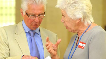 New UKIP Essex County Councillor Alan Bayley chats with Essex County Council Chairman Kay Twitchen a
