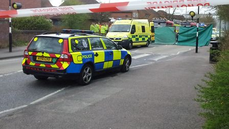 Scene of a collision between a motorcycle and a car in Shepherd Drive, Ipswich