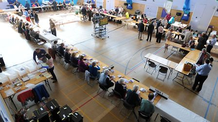 The election count at Bury Leisure Centre.
