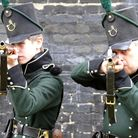 1st battalion 95th Rifles taking aim at Landguard Fort, Felixstowe. Lawrence Deering, left and Rober