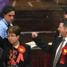 Labour candidate Mandy Gaylard celebrates winning St Helens in the Suffolk County Council elections
