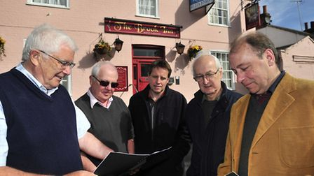 Keith Armes, George Wiseman, Ian Evans, Alan Amphlett Lewis and Simon Bissett, some of the local res