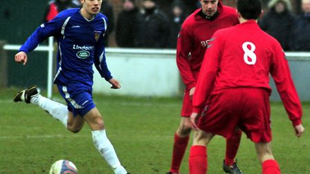 Luke Read, left, in action for Ipswich Wanderers against Crane Sports in the LB Group Suffolk FA Sen